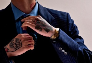 Tattoo man in suit